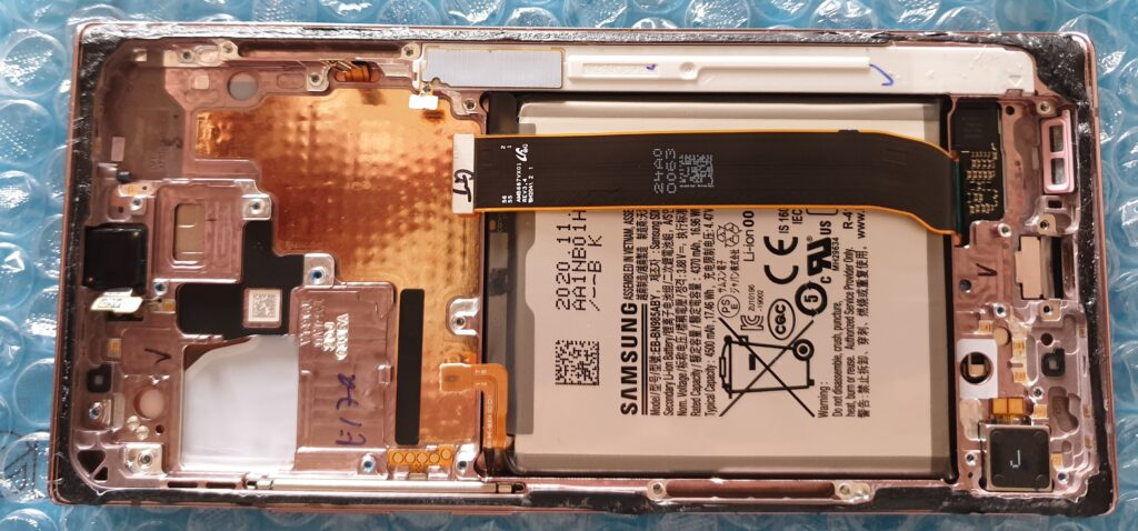 Samsung Note 20 Ultra wyjęta płyta główna